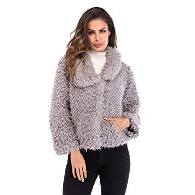 3ef3a58601 Image Unavailable. Image not available for. Color: Hankyky Women's Warm  Lapel Long Sleeve Pocket Fluffy Faux Fur Coat Outwear Short Cardigan Winter  Jacket
