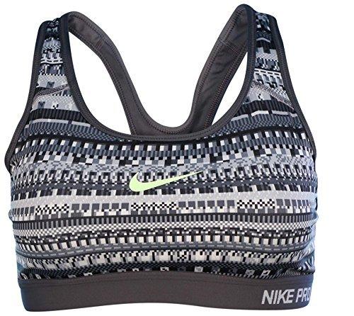 Nike Womens Pro Classic Padded 8 Bit Sports Bra Cool Grey/Black/Volt 683628-065 Size X-Small
