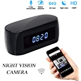 Poetele Alarm Clock Spy Hidden Camera with Wifi,Motion Detection,2-Way Communication and Night Vision,Full HD 1080P DV Camcorder,140 Degrees,12Mp,Covert Nanny Cam Wireless Camera P2P IP Security