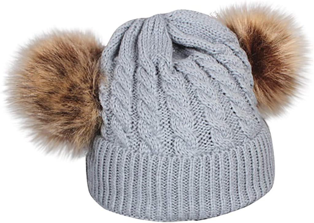 Baby Winter Warm Knitted Hat Double Fur Pompom Solid Color Soft Wool Hemming Beanie Hat Gift Boys Girls for 1-6 Years