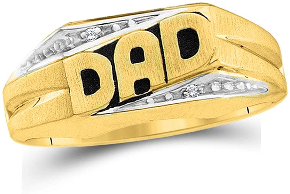 .01 Cttw 10kt Yellow Gold Mens Round Diamond Dad Father Band Ring