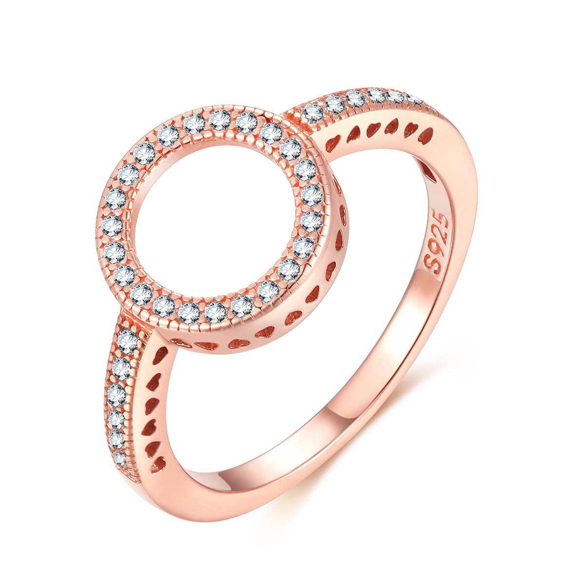 Presentski Rose Gold Engagement Halo Ring Sterling Silver with CZ for Friendship Wedding Day Gift