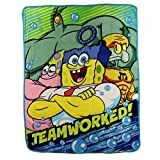 Kids Super Plush Sherpa Throw Blanket, 46x50-Inch (Spongebob Squarepants ''Teamworked'')