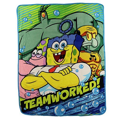 "Kids Super Plush Sherpa Throw Blanket, 46x50-Inch (Spongebob Squarepants ""Teamworked"")"
