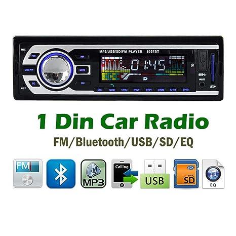 Radio para Coche Reproductor de Mp3 1 DIN Estéreo Bluetooth ...
