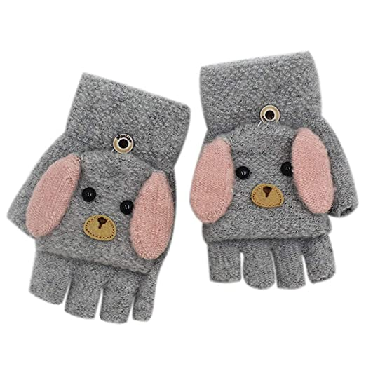 395e41c74 Amazon.com  RARITY-US Unisex Warm Soft Winter Knit Gloves for Kids ...