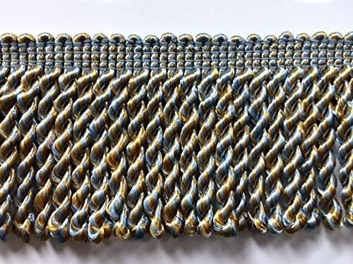 Sod by the yard 2.5 Bullion Fringe Trim BUF-1//38-11 light blue /& Gold