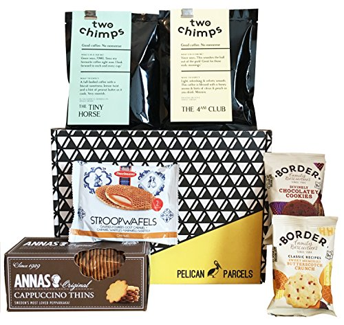 Coffee Gift Box - Two Chimps Coffee, Anna's Cappuccino Thins, Daelmans Stroopwafels, Border Biscuits - Hamper Exclusive to Pelican Parcels