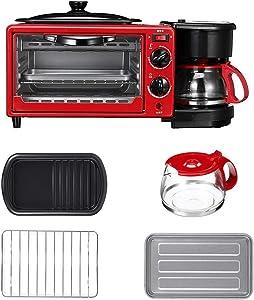 YANG Breakfast Machine, 3-in-1 Multifunction Breakfast Machine Coffee Pot Frying Pan Oven Bread Baking Maker Bread Toaster Fried Egg Coffee Cooker
