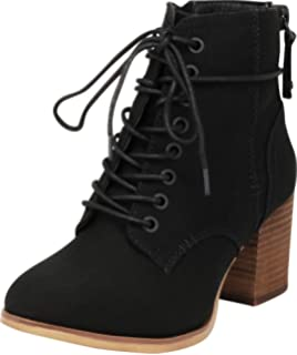 8eca6c0254 Cambridge Select Women's Lace-Up Chunky Stacked Block Heel Combat Ankle  Bootie