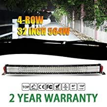 Jiuguang 32inch 564W 4 Rows Quad Curved LED Light Bars Combo Beam 56400lm Cree Chips Highly Sealed Strip lights for Jeep SUV Truck ATVs (32inch, curve)