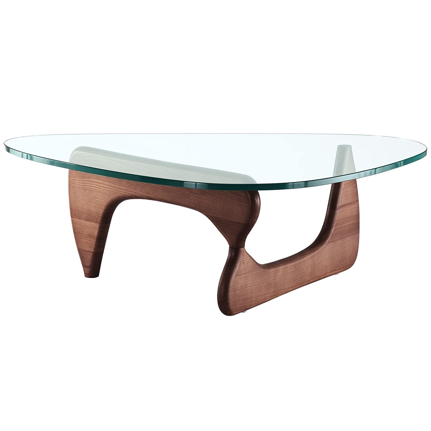 Amazoncom Modway Triangle Coffee Table In Walnut Kitchen Dining - Mid century triangle coffee table