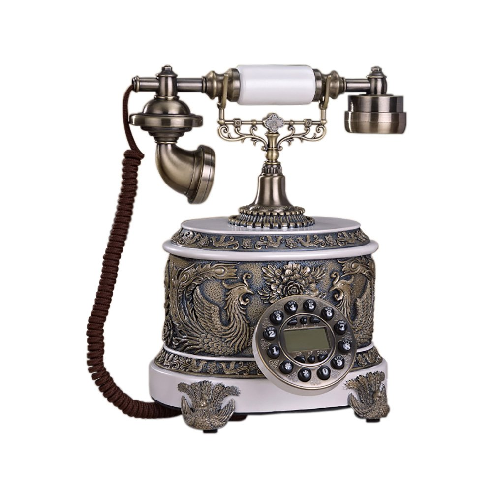 Fashion Home ZHILIAN Telephone Retro Fixed Telephone Landline Bedroom Decoration Resin + Alloy 25 22 31cm