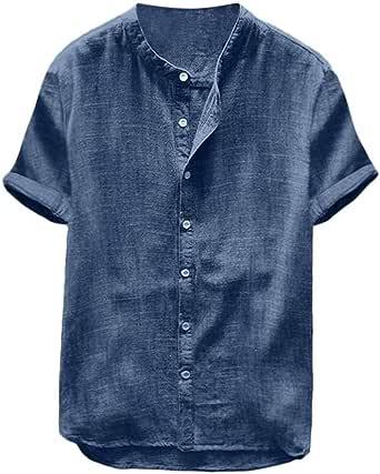 VJGOAL Hombre Manga Corta Henry Collar Breve botón de Color sólido Camiseta de Verano Suelta Ocasional de Lino de algodón Tops Vintage Camisas Blusa