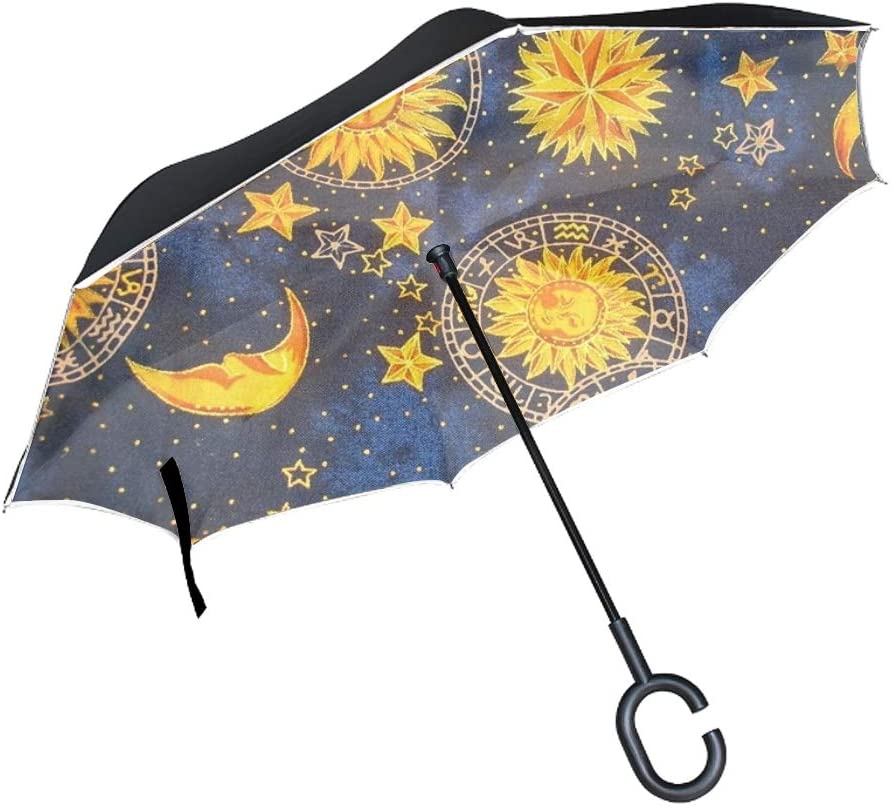 Sun And Moon Windproof Car Reverse Automobile Parasol with C Shape Handle UV Protection