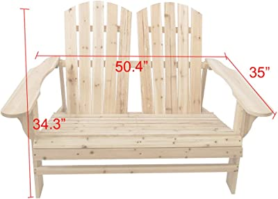 TANGON Wooden Double Adirondack Chair Loveseat, 2 Person Fir Wood Rustic Outdoor Lounge Patio Adirondack Chair Bench (Natural)