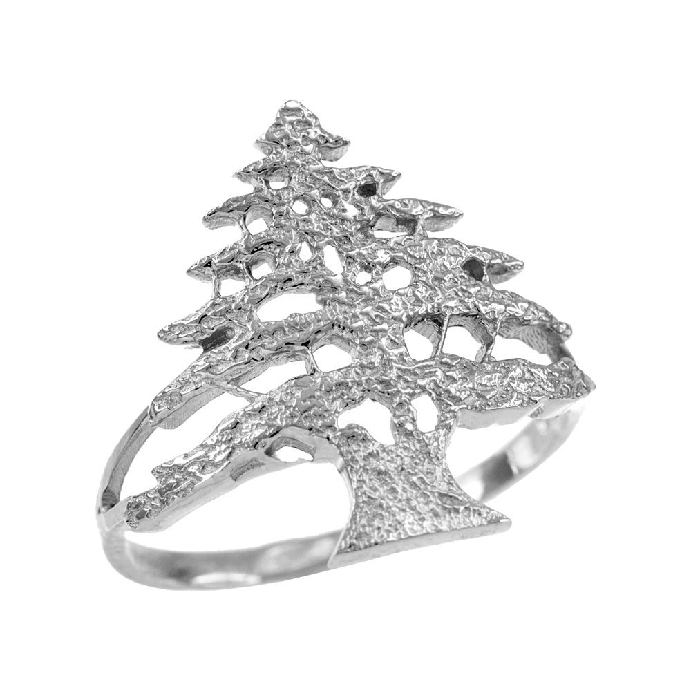 925 Sterling Silver Textured Band Lebanese Cedar Tree Women's Ring (Size 12)