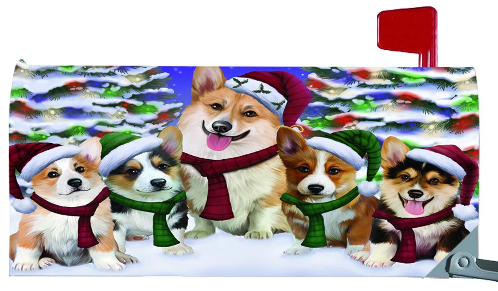 Magnetic Mailbox Cover Corgis Dog Christmas Family Portrait in Holiday Scenic Background MBC48219