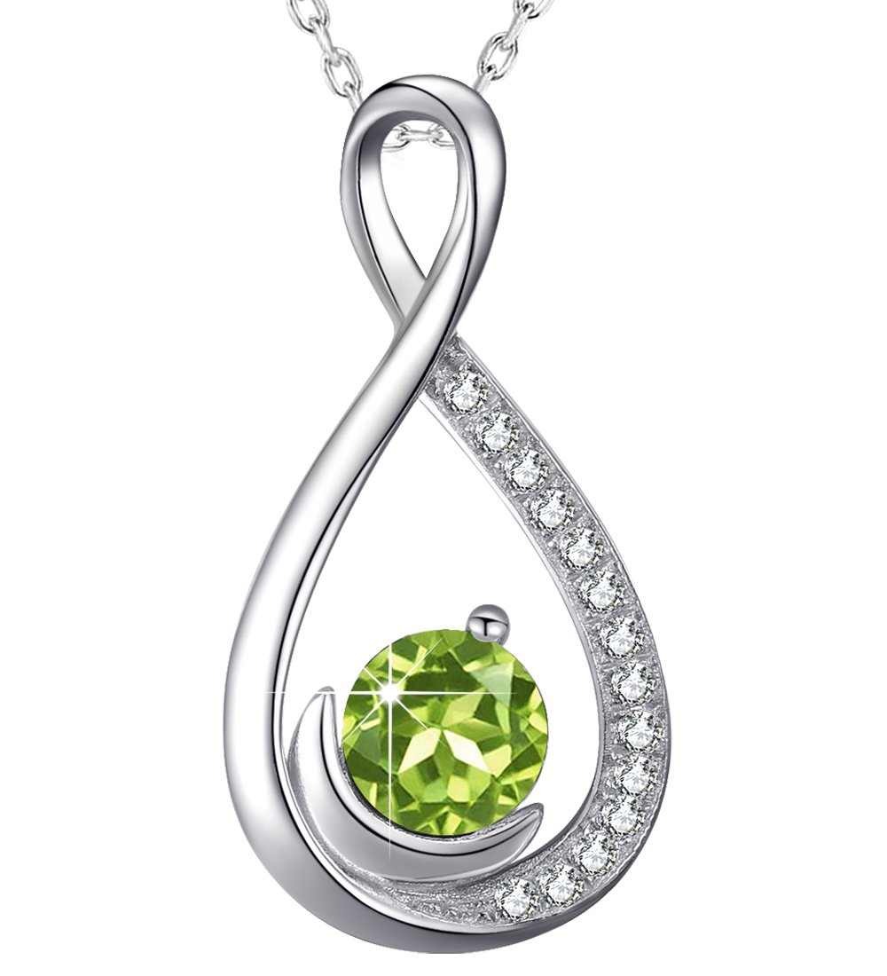 Dorella Endless Love Infinity and Moon Necklace Green Peridot Fine Jewelry for Her Birthday for Women Lady Wife Girlfriend Sterling Silver Swarovski 18''+2'' Chain