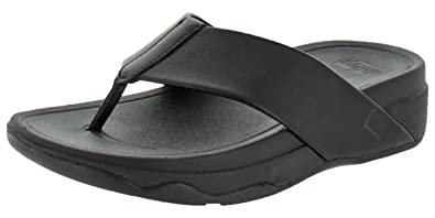 91647a0246c Fitflop Women s Surfa Leather Slip-on Sandals Shoes Black Size 4 ...