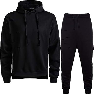 Men/'s Gym Jogging Full Tracksuit Hoodies Sweatshirt Pants Fleece Joggers Suit