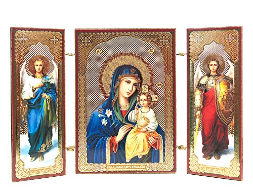 Christ Virgin Mary Eternal Bloom Icon Triptych with Archangels Saints St Michael and Gabriel 3 3/8 Inch