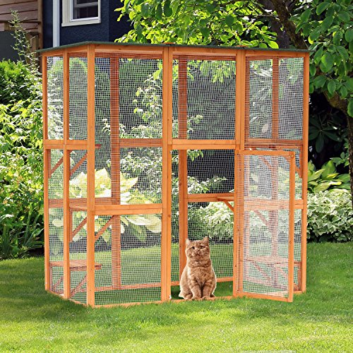 "PawHut 71"" x 39"" x 71"" Large Wooden Outdoor Cat Enclosure Catio Cage with 6 Platforms"
