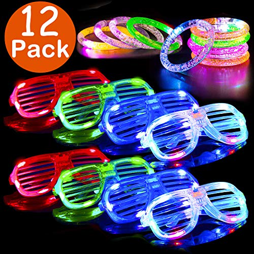 Mazuly LED Light Up Toys Glow In The Dark Party Favor Supplies for Kids - 12 Pack 6 Flashing Slotted Shades Glasses 6 Flashing Bracelet Assortment Thanksgiving Christmas Birthday Gift Party Pack