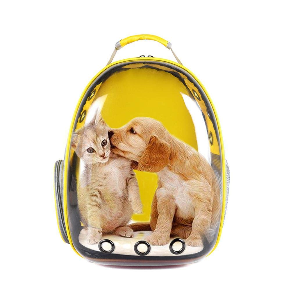 SinceY Premium Quality Comfort Dog Cat Pet Carrier Backpack Hold Pets Up To 15 Lb, Portable Breathable Backpack Space Capsule Pet Carrier For Outdoor Travelling With Panoramic Transparent Pet Cage