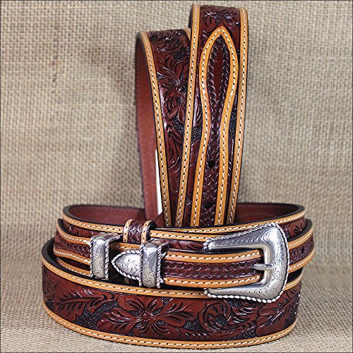 44 X 1 3/8 inch. 3D FLORAL TAN MENS WESTERN FASHION RANGER LEATHER BELT SILVER BUCKLE (Ranger Floral Belt)