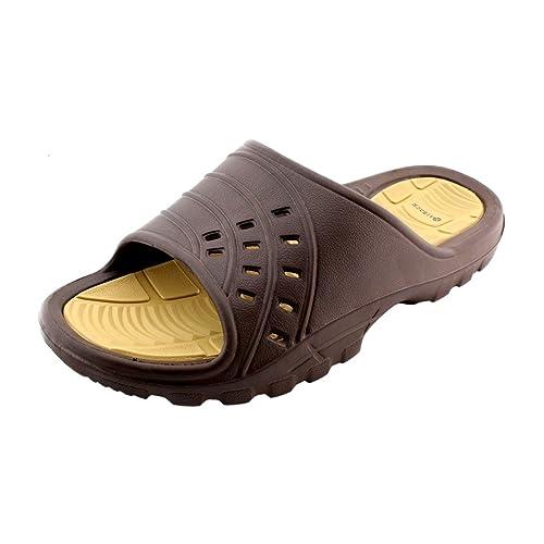 61625a0967b5 Kaiback Simple Slide Sport Shower Sandal (8 9) Brown