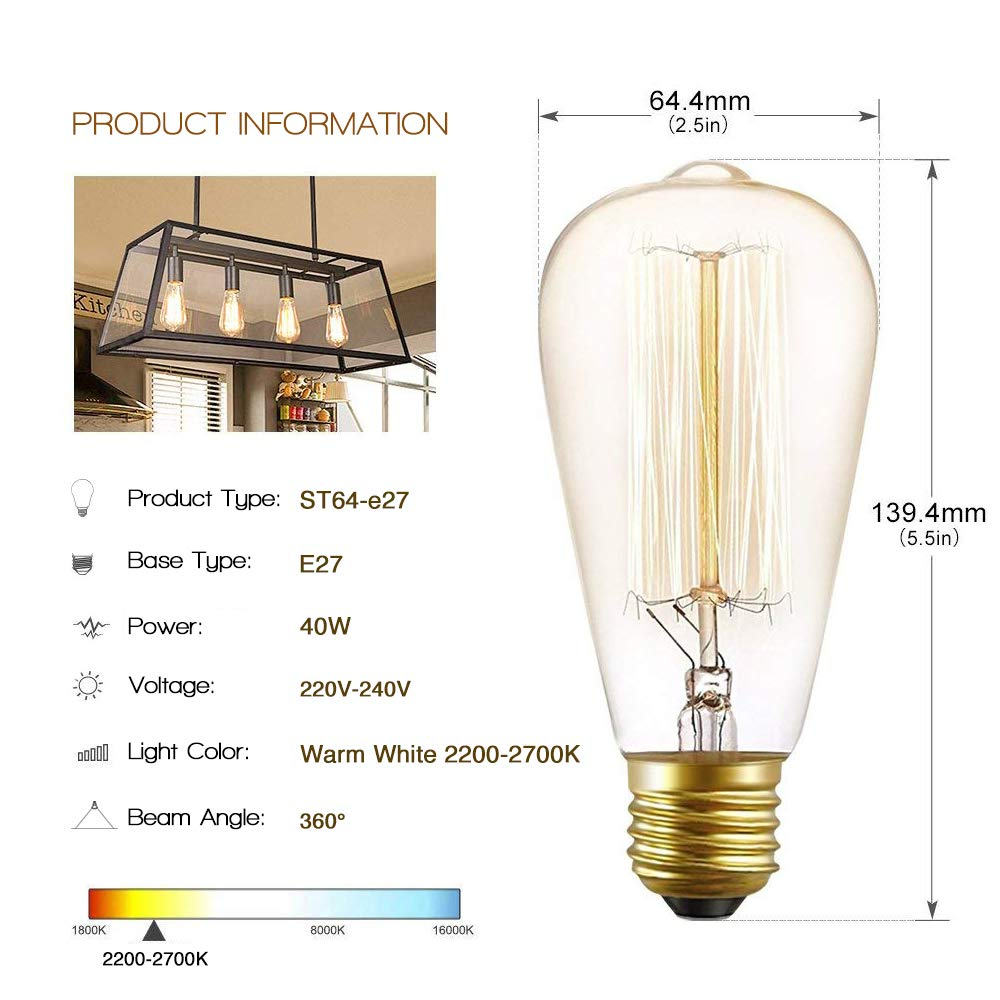 by Brightfour Decorative Spiral Filament Bulbs Soft Warm White 2700K Vintage G80 Edison Light Bulb 40w Pack of 2 Dimmable E27 Screw Bulb