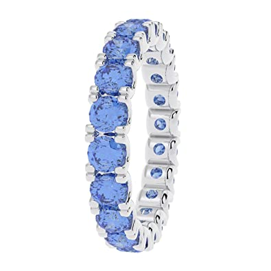 3 Grams UK Hallmarked Gold 2 Carat Sapphire Claw Set Full Eternity Ring in White Gold x8WrT3i