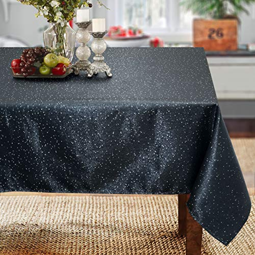 CAIT CHAPMAN HOME COLLECTION Shimmer Starry Night Black Silver Metallic Woven Tablecloth (60