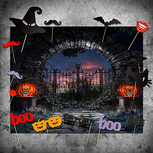Halloween Backdrops with Photo Booth Props, MeeQee 7X5ft Photography Background Halloween Horror Night Haunted House Scary Pumpkin Lantern Studio Props Photo Backdrop Background, MQ-HAW4 -