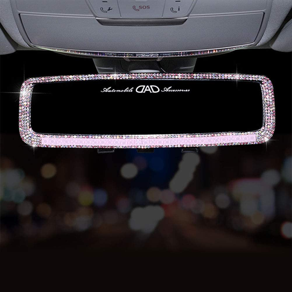 Atrumly Car Rearview Mirro for Girls Bling Rhinestones Auto Accessories Car Interior Trim Rearview Mirror