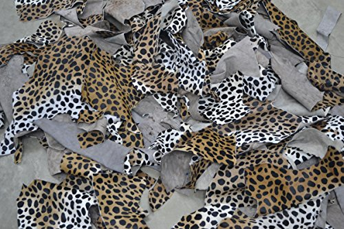 The Leather Guy - Leather Exotic Scrap 1 Pound Hair on Cowhide 2-3 oz remnants Cheetah Print