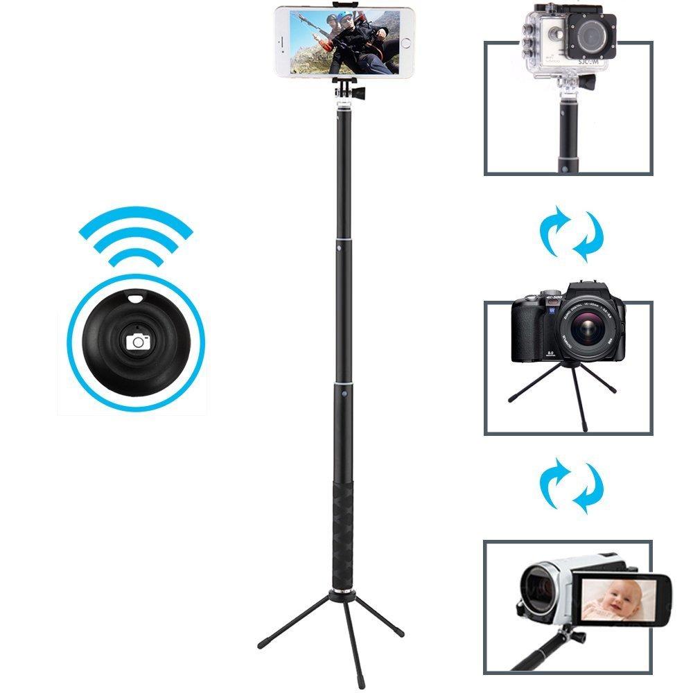 MAONO Selfie Stick, Bluetooth Remote and Tripod, Portable Rain-Proof Monopod for GoPro, iPhone 7/7 Plus/6 Plus/6S Plus Samsung Galaxy Series, DSLR