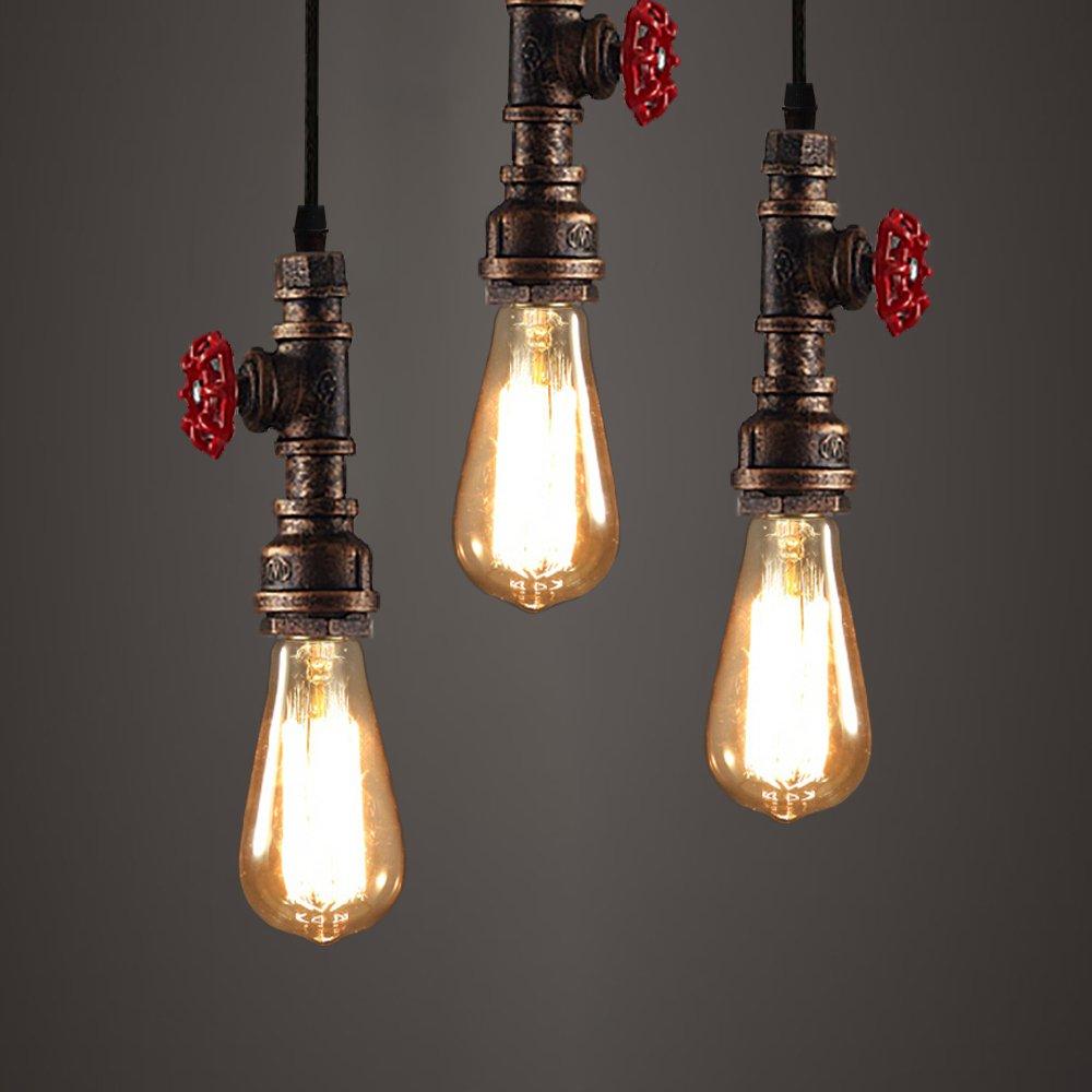 WINSOON 3 Pack Antique Pipe Light Fixture Rustic Bronze Metal Hanging Pendant Lighting by WINSOON