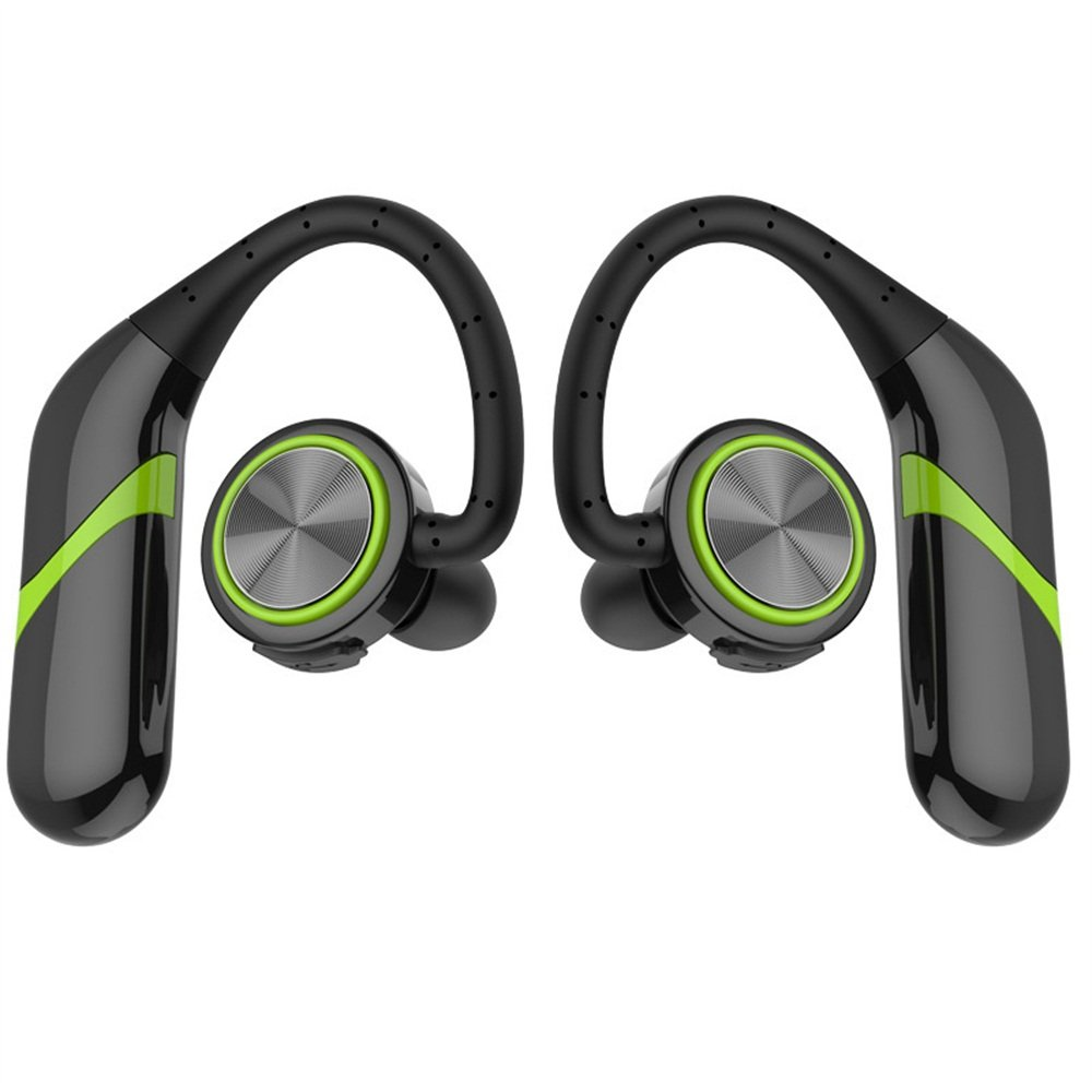 TWS Wireless Sports Business Bluetooth Headset Without Wire Control, No Headset And 360-Degree Stereo Surround, High Version 4.2 Bluetooth, IPX6 Waterproof Rating (Green)