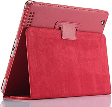 FAN SONG Funda para iPad 2/3/4, Carcasa Protectora de Cuero sintético con Soporte, función de Sueño/Estela automático para iPad 2, iPad 3, iPad 4(Rojo): Amazon.es: Electrónica