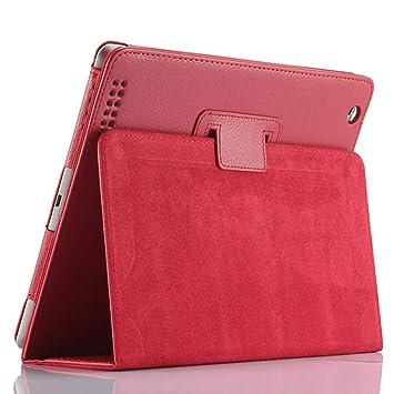 Funda para iPad 2/3/4, FANSONG Carcasa Protectora de Cuero sintético con Soporte, función de Sueño/Estela automático para iPad 2, iPad 3, iPad 4(Rojo)