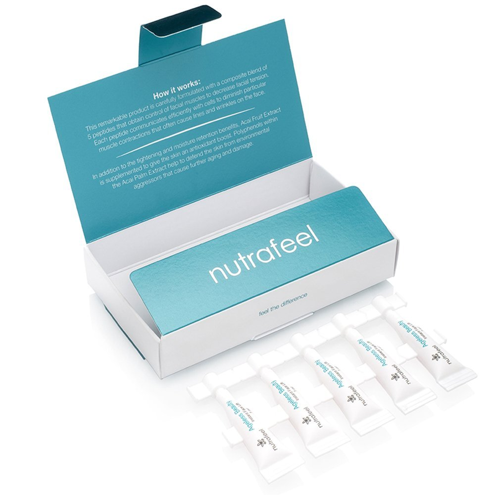 FaceLift by Ageless Beauty with Hyaluronic Acid | Acai Extract | Argireline | Matrixyl 3000 - Drastically Reduces Eye Bags, Wrinkles, Lines and Puffiness INSTANTLY! – Your BOTOX Alternative (5 Vials) Nutrafeel