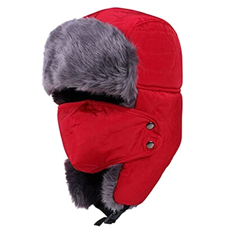 5828225b653 Amazon.com  Lurrose Winter Hat with Ear Flaps Ushanka Hat Skiing Hats  Trapper Hat Snow Hat mask for Men Women (Red)  Clothing