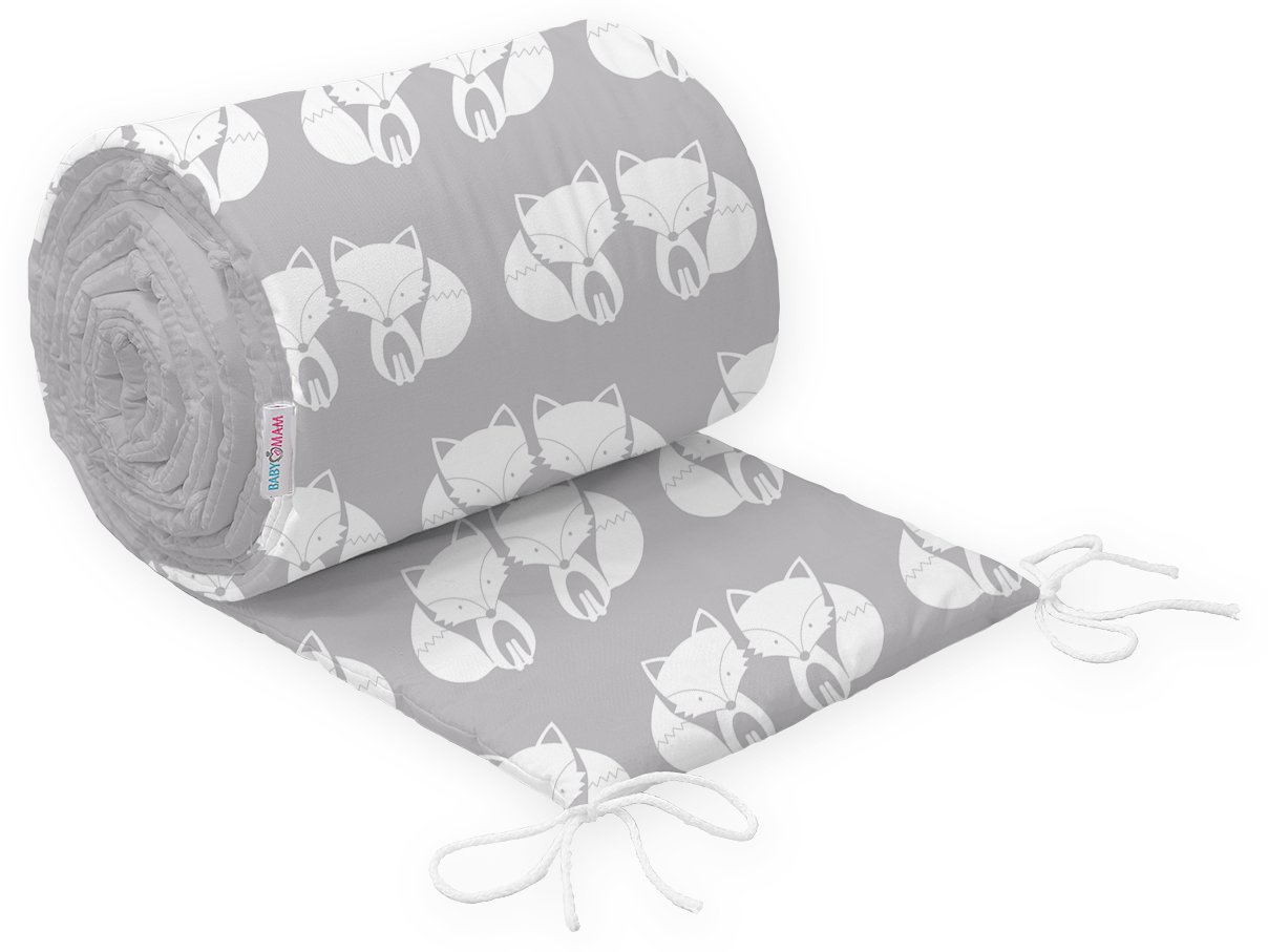 BABY PADDED BUMPER 100% COTTON FOR COT BED 140x70 STRAIGHT 190CM (Big White Stars on Grey) Babymam