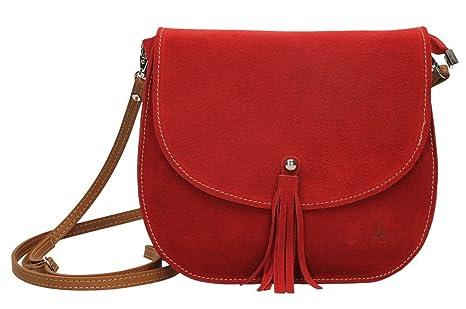 ANTHER-Bolso Bandolera Mujer fabricado en Piel de Ante de 1ª Calidad, Color Rojo