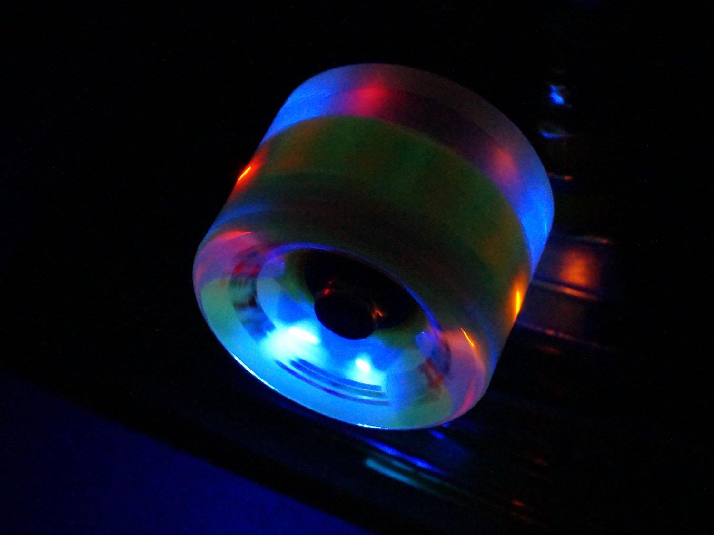 22 Zoll mit integriertem LED Lichtband und LED Rollen MAXOfit/® Mini LED Skateboard TRANSPARENT 55 cm