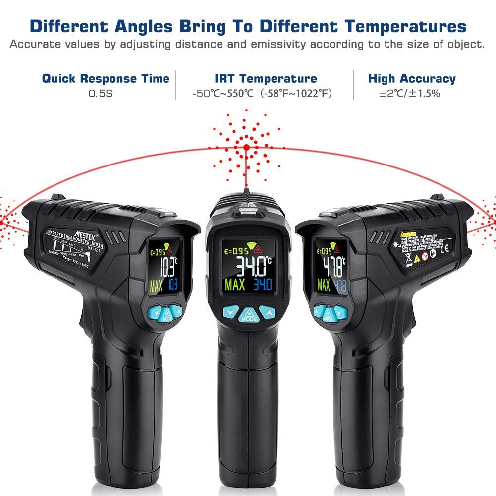 Infrared Thermometer, Non-Contact Digital Laser IR Thermometer Gun -58℉~716℉(-50℃~380℃) Adjustable Emissivity Instant-Read for Kitchen/Cooking/Automotive/Industrial with HD Backlight Color Display by YOUTHINK (Image #2)