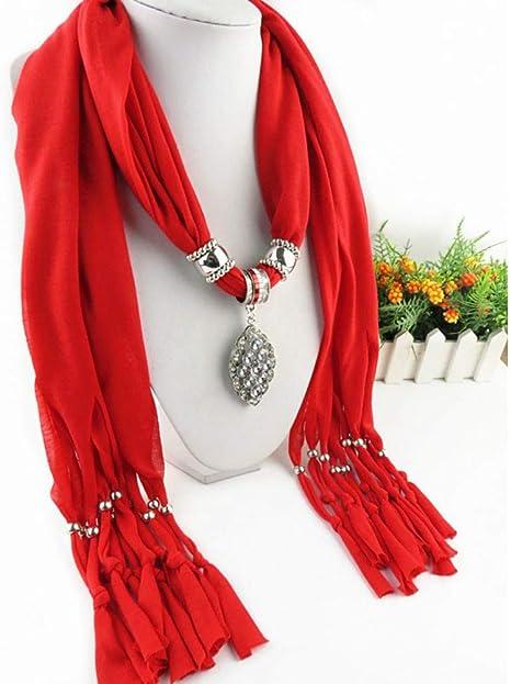 TLXOZ Collar de algodón Macizo Colgante Mujer Bufandas para el ...