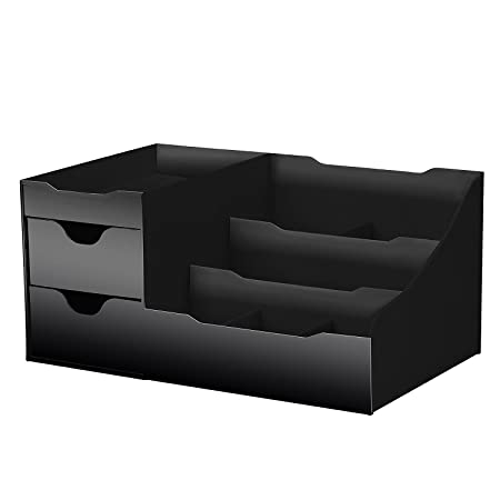 Artikle Leather Corporate Uncluttered Designs Makeup Organiser With Drawers (Black)